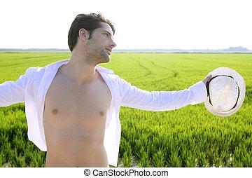 verão, ao ar livre, camisa, homem, abertos, prado