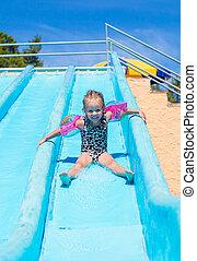 verão, aquapark, corrediça água, criança, durante, feriado