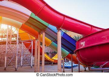 verão, aquapark., hotel, férias, água, recurso, escorregar, entertainment.