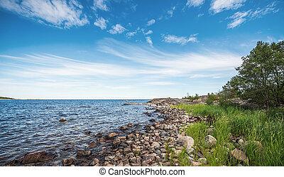 verão, Báltico, contorno costa, mar, durante