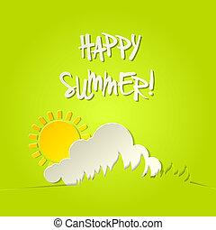 verão, bacground, ensolarado, vetorial, cartão, feliz