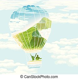 verão, balloon, paisagem, viajantes