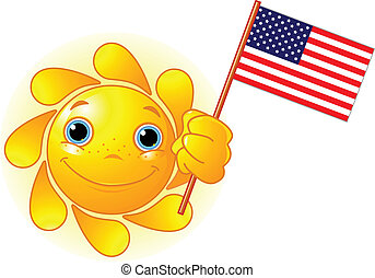 verão, bandeira americana, sol