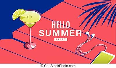 verão, bandeira, cartaz, sol, coquetel, feriado, , illustration.