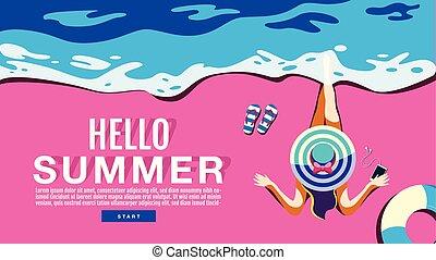 verão, bandeira, cartaz, sol, feriado, , illustration.