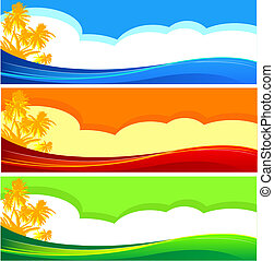 verão, bandeiras, férias