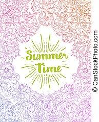 verão, barroco, tempo, estilo, card.