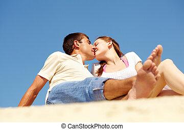 verão, beijo