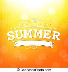 verão, bokeh, cartaz