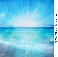 verão, bokeh, mar, fundo
