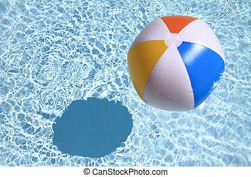 verão, bola, experiência., praia, piscina, natação