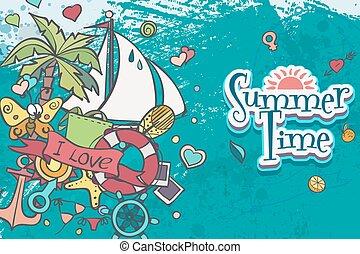verão, bote, mar, doodles, branca, cartão