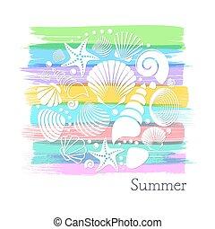 verão, branca, cartão, escudos mar