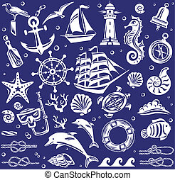 verão, branca, jogo, mar, ícones