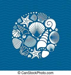 verão, branca, vetorial, escudos mar