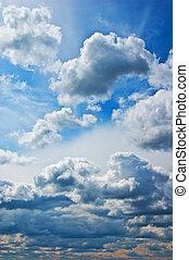 verão, céu, nublado