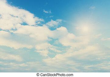 verão, céu, nuvens
