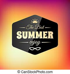 verão, calligraphic, desenho, retro, denominado, cartão