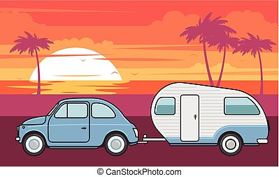 verão, campista, -, férias, viagem, retro, car, reboque