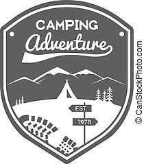 verão, campsite, logotipo, design., montanha, inverno, ...