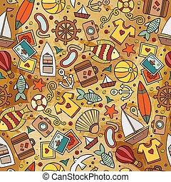 verão, caricatura, tempo, seamless, padrão