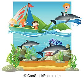verão, cena, com, crianças, e, golfinhos