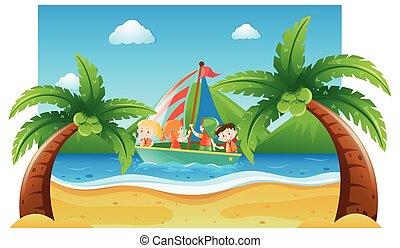 verão, cena, com, crianças, velejando