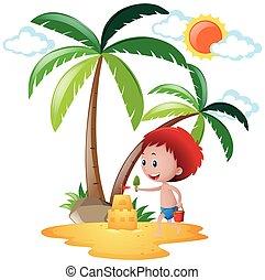 verão, cena, com, menino, tocando, sandcastle