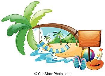 verão, cena, com, rede, ligado, árvore
