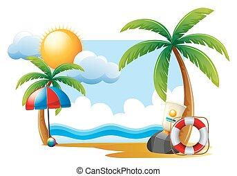 verão, cena, com, sol, e, oceânicos