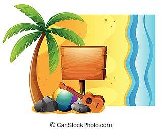 verão, cena, com, tábua, e, praia