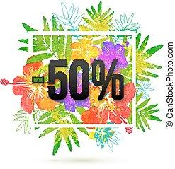 verão, cento, venda, 50, desconto, vetorial, modelo