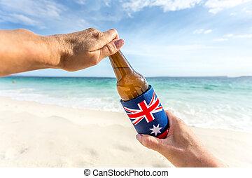 verão, cerveja, fenda, gelado, abertos, dia