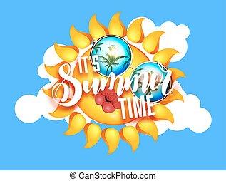 verão, cheio, óculos de sol, lips., sol, beijando