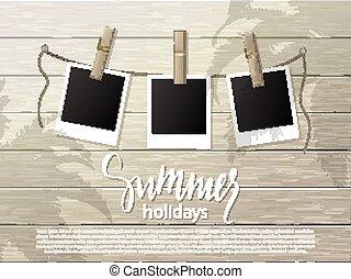 verão, clothespin., illustration., madeira, foto, wall., corda, vetorial, fundo, bordas, .set