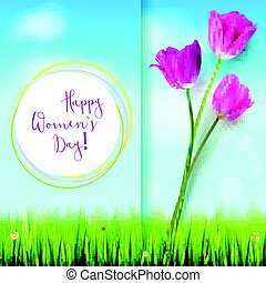 verão, clouds., convite, hand-drawn, saudações, seu, cor-de-rosa, card., tulips, céu, dia, modelo, branca, inscription., feliz, azul, backdrop., mulheres, cobertura, grama verde, ou