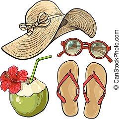 verão, coco, -, inverter, óculos de sol, fracassos, tempo férias, attributes, chapéu
