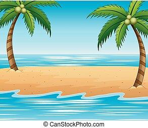 verão, coco, praia, fundo, árvores