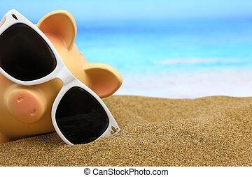 verão, cofre, com, óculos de sol, praia
