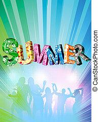 verão, colorido, palavra, letras