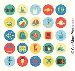 verão, coloridos, ícones