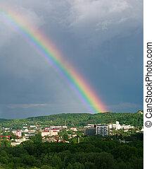 verão, coloridos, arco íris, sobre, céu, dia, cidade