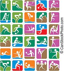 verão, coloridos, -, esportes, símbolos