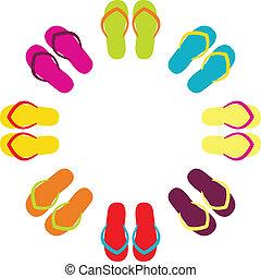 verão, coloridos, flipflops, em, círculo, isolado, branco
