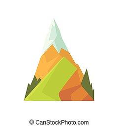verão, coloridos, montanha, primavera, viagem, cena nevada, apartamento, elemento, paisagem, vetorial, desenho, banner., peak., escalando, caricatura, ou, natureza