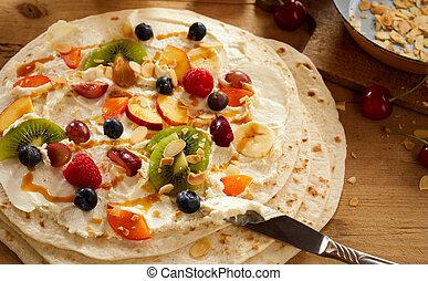 verão, coloridos, sobremesa, fruta, envoltório, fresco