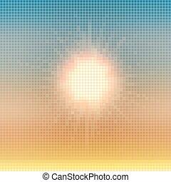 verão, coloridos, sol, abstratos, experiência., vetorial, mosaico