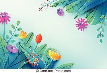 verão, composição, primavera, fantasia, luminoso, papel, origami, canto, estilo, corte, concept., isolado, flores, mínimo, 3d, natureza, bouquet., space., ilustração, fundo, floral, cópia, light., folhas, vetorial