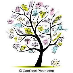 verão, conceito, árvore, feriado, desenho, seu