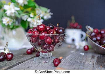 verão, conceito, antigas, fresco, pratos, vaso, cereja, ...